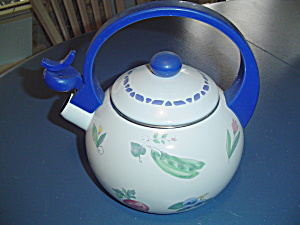 Pfaltzgraff Summer Garden Metal Whistling Tea Kettle