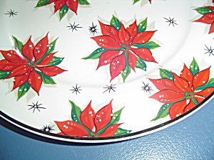 Home Poinsettia Round Platters Or Chop Plates Gold Rim