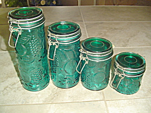 Set Of 4 Green Glass Canisters With Hinges/seals Fruit Design