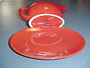 Better Homes And Gardens Heritage Collection Red Gravy Boat/tray