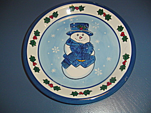 Libbey Snowman Dinner Plates Blue Trim W/holly Set Of 4