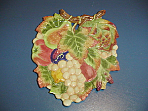 Fitz & Floyd Large Grape Leaf And Fruit Decorator Dish/plaque