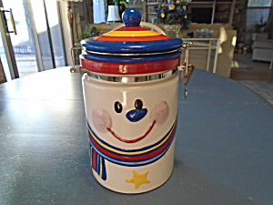 Hinged Jar Unknown Maker Snowman With A Striped Hat