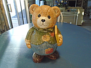 Gka Ceramic Teddy Bear Holding A Wood Sign