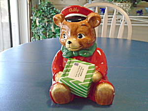 Harry & David Cubby Teddy Bear Delivery Boy Cookie Jar