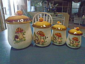 Sears Roebuck Mushroom Vintage Canister Set Of 4