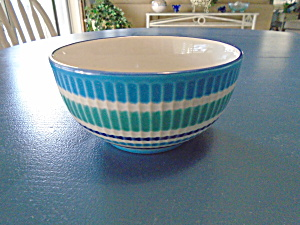 Crate & Barrel Stripe Bands Cereal Bowl(S) Blue, Green, Purple Stripes