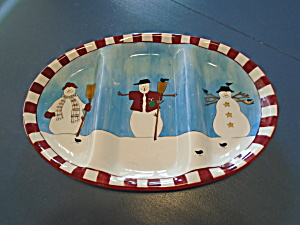 Sakura Debbie Mumm Snowman 3 Part Large Relish Tray