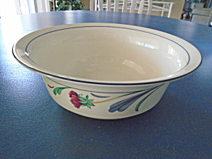 Lenox Poppies On Blue Rimmed Serving Bowl
