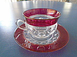 Vintage Kings Crown Cranberry Cups And Saucers
