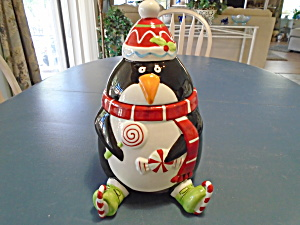 Pier 1 Penguin Ice Skater Christmas Cookie Jar
