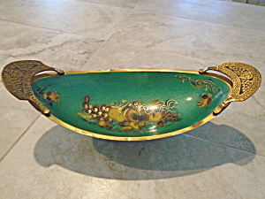 Made In Israel Brass And Metal Enameled Fruit Bowl