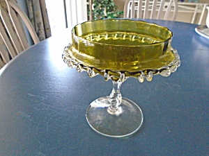 Vintage Antique Green Double Crimped Clear Ruffle Compote