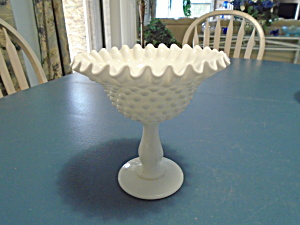 Fenton Hobnail Crimped Milk Glass Compote