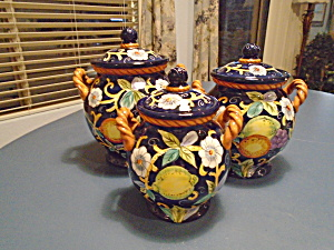 Certified International Floral/fruit Set Of 3 Covered Canisters