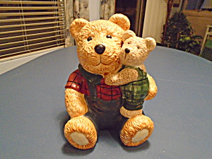 Teddy Bear W/baby Ceramic Cookie Jar