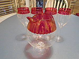 Ruby Red Cut Glass Wine Set Depression Maker Unknown Mint