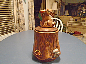 California Originals Rabbit On A Stump Cookie Jar