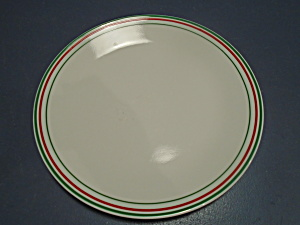 Corelle Dinner Plates White W/green And Red Stripes Unknown Pattern