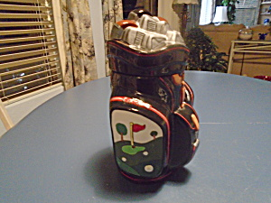 Golf Bag Cookie Jar Ceramic - Makes A Great Gift