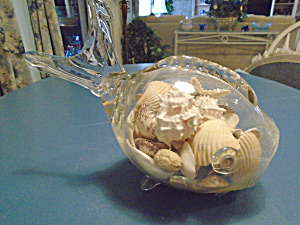 Vintage Fish Filled W/shells Figurine Bathroom
