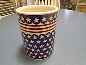 Boleslawiec Stars And Stripes Utensil Holder Jar