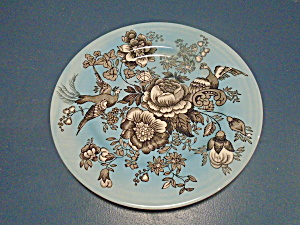 Victorian English Pottery Vcn2 Dinner Plates Blue, Flowers, Birds