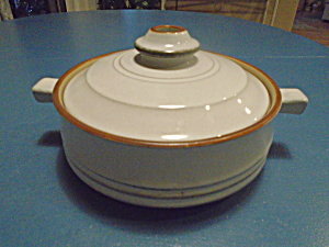 Denby Corfu Gray/tan And Rust Covered Casserole