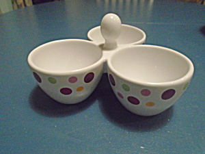Pampered Chef Dots Small 3 Dish Condiment Tray W/handle