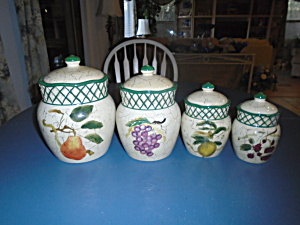 Raymond Waites Cornucopia Set Of 4 Covered Canisters