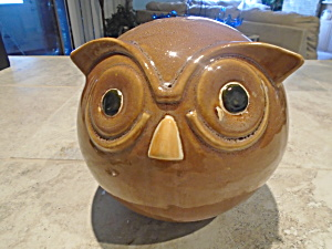 Owl Still Bank Stoneware And 9 In. Tall W/plug
