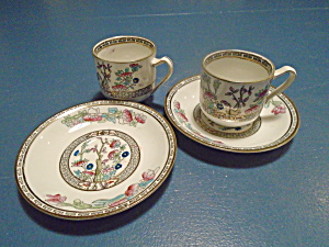J&g Meakin Indian Tree Demitasse 2 Cups And 2 Saucers