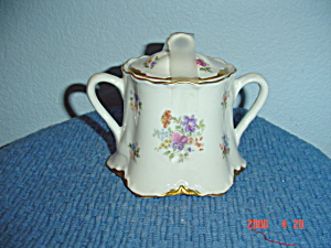 Warwick Gold Scalloped Floral Pattern Cover/sugar Bowl