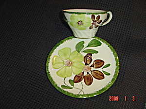Blue Ridge Green Briar Cups And Saucers