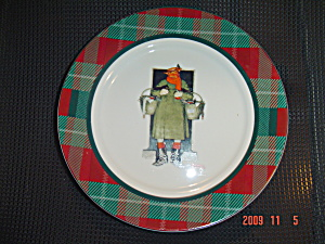 Norman Rockwell Merrie Christmas Man With 2 Geese Dinner Plate