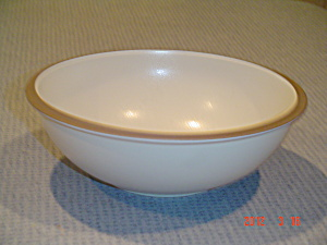 Dansk Santiago White Line Serving Bowl Ivory And Brown Trim