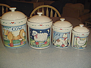 Susan Winget Farm Animal Collection Set Of 4 Covered Canisters
