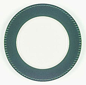 Dansk Miss Match Emerald/hunter Green Bead Rim Dinner Plates