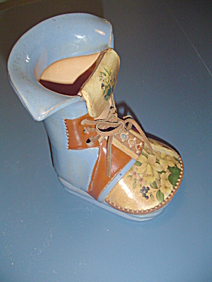 Blue Terracotta Boot/shoe Vase Decor Signed By Holly - Nice Gift