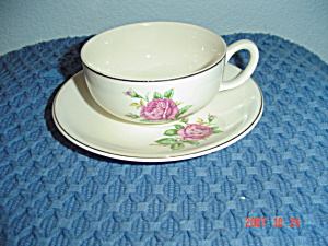 Paden City Potteries Pcp15 Pink Rose Cups/saucers