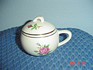 Paden City Potteries Pcp15 Pink Rose Covered Sugar Bowl