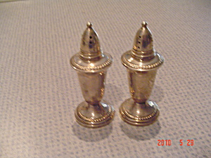 Krown/crown Silver Sterling Glass Lined Salt/pepper Shakers