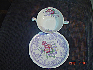 Spode-copeland Mayflower Creme Soup Cup & Saucer Crazed