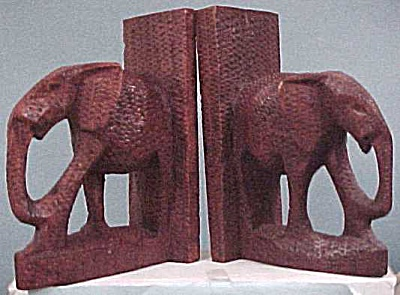 Carved Wood Elephant Bookends