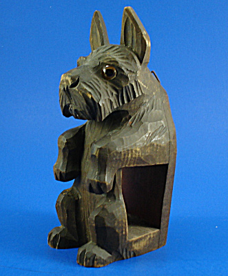 German Carved Wood Wall Hanger Scottish Terrier