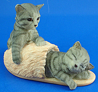 Stone Critters Resin Kittens With Slipper