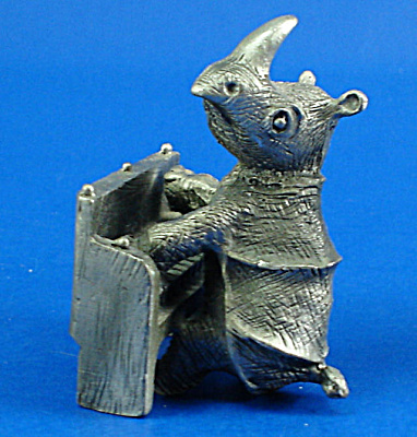 Hudson Pewter Miniature Rhino Playing A Piano