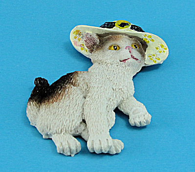 Resin Refrigerator Magnet Calico Cat Wearing A Hat