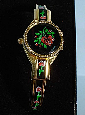 Bracelet Watch Enameled Rose Design