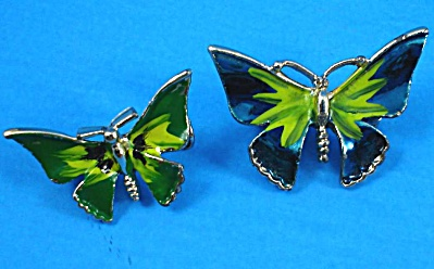 Unsigned Enamel Butterfly Pin Pair